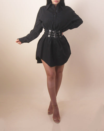 'STYLED UP' Belted Long Sleeve Dress