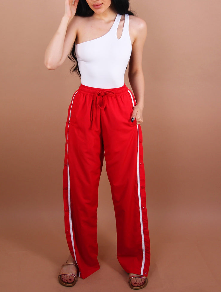 Red - 'KELLY' Striped/Button Pants