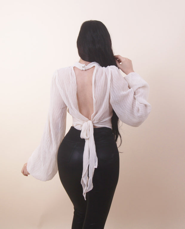 'NATALI' Loose Sleeves | Open Back Bow Top/Blouse