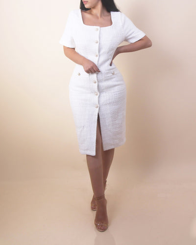 'EMILY' White Tweed | Pearl Buttoned | Midi Dress