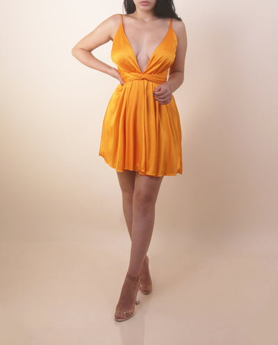 'MARY J' Satin Low V | Silky Neon Orange Mini Flowy | Mini Dress