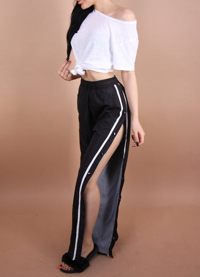 Black - 'KELLY' Striped/Button Pants