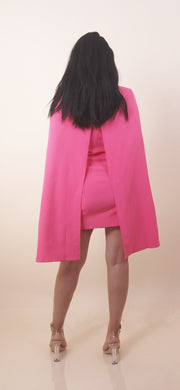 'CINTHY' Hot Pink | Button Detailed | Blazer | Padded Shoulders Mini Cape Dress