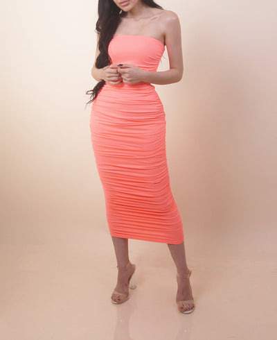 'ALICIA' Neon | Ruffled Up | Strapless Maxi Summer Dress