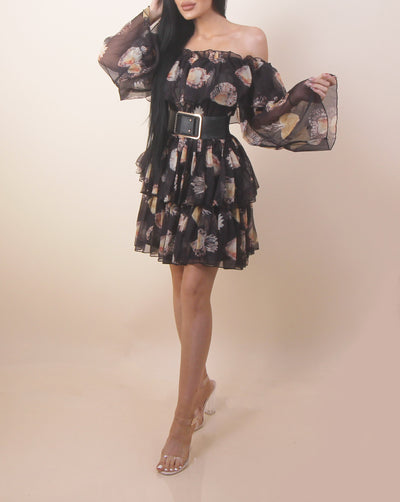 'ANASHE' Belted | Floral Detailed | Off Shoulder Ruffled | Mini Flow Dress