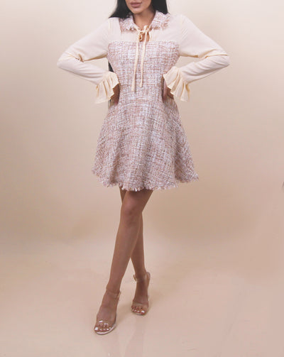 'DOLLY' Tweed Detailed | Long Sleeve | Collard Summer Night Evening Dress