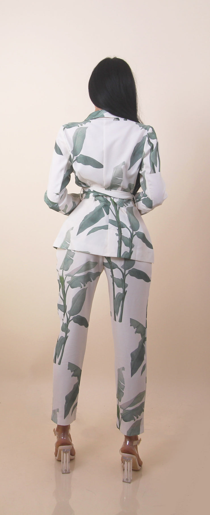 'LEAFY SET' PantsXBlazer | Leaf Detailed | Belted Blazer Two-Piece Set
