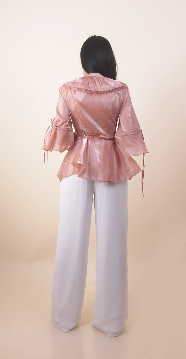 'LILIAN' Blush Ruffle Detail | Half Sleeve | Rose Gold Top/Blouse
