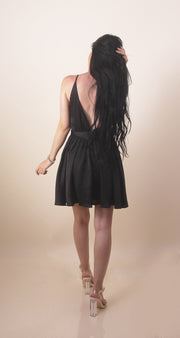 'MARY J' Satin Low V | Flowy Mini Summer | Night Out Dress