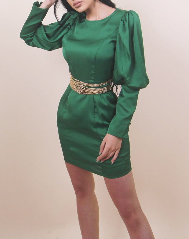 'ANGELICA' Puffed Arms | Long Sleeve | Emerald Green Midi Evening Dress | Belt comes separate