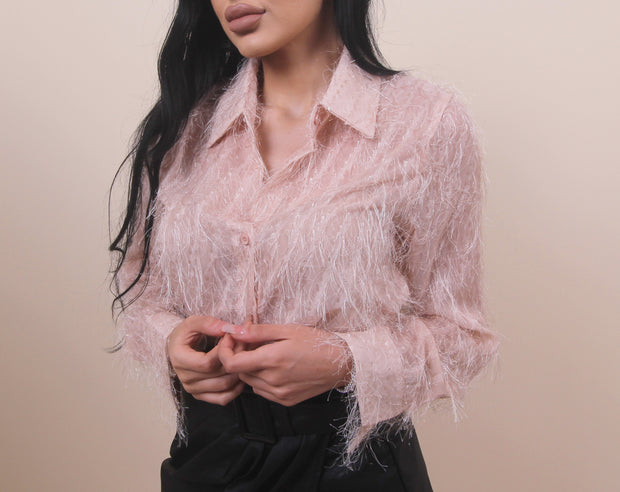 'MELISSA' Nude Fuzzy Detailed | Feathery Sparkled Collard Top/Blouse