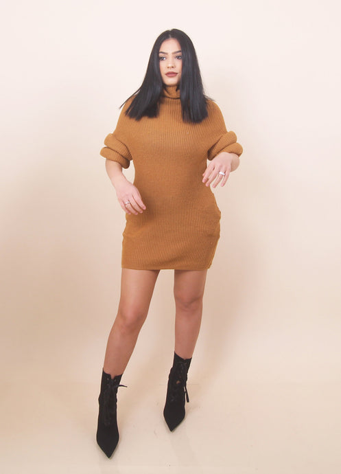 'COLETTE' Sweater Dress - Camel