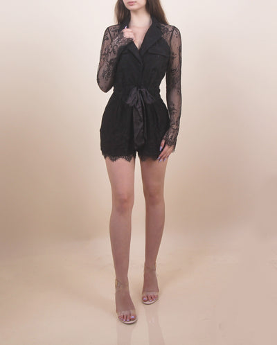'JULIET' Laced Long Sleeve | Silk Lace Front | Collard Mini Romper