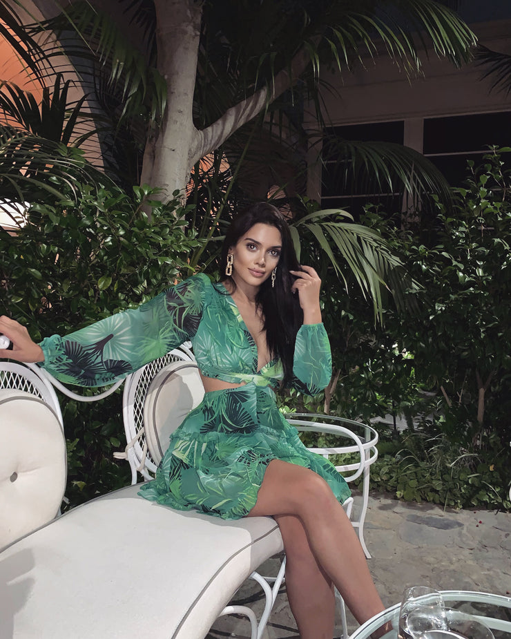 'COCKTAIL' Lace Back ROMPER GREEN FOREST PRINT
