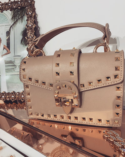 'VIA' Studded | Belted Clutch in Beige