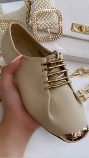 'LILY' Laced Detail Shoes in BEIGE