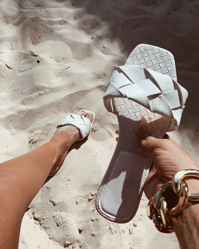 'PARIZ' Woven Sandals in WHITE