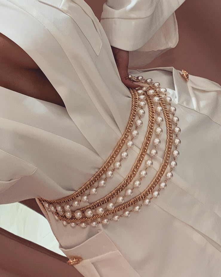 'MONOLO' Pearl Chained Adjustable Belt