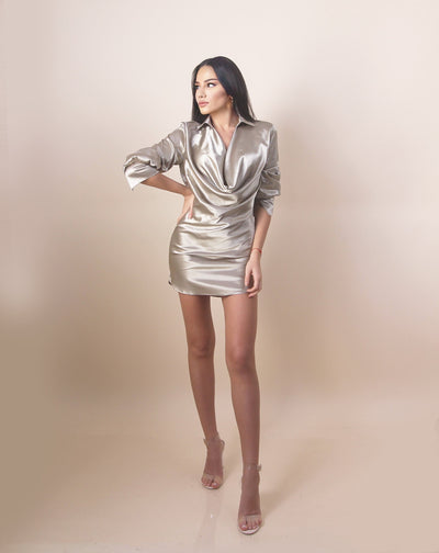 'EMILY' Satin/Silky | Long Sleeve | Collard Detailed | Mini Evening Dress