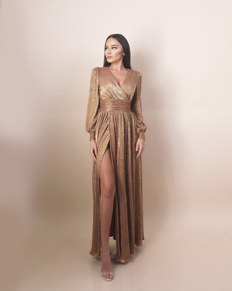 'JASMINE' Satin/Silky | Slit Detailed | Long Sleeve Detailed | Maxi Golden Evening Gown