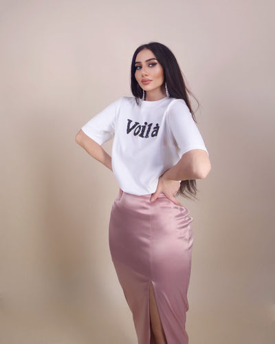 'VOILA' Plain Sequin Letters Detailed | Casual T-Shirt/Top