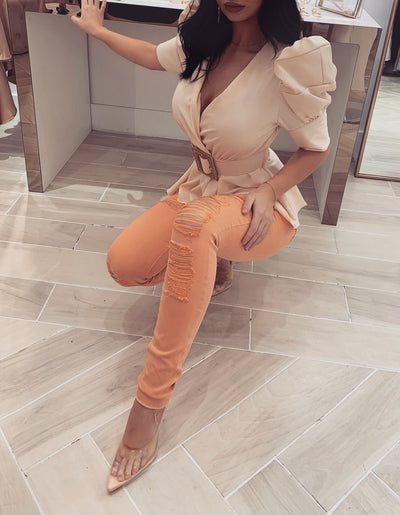 'JASON' Ripped Jeans in Pastel Orange