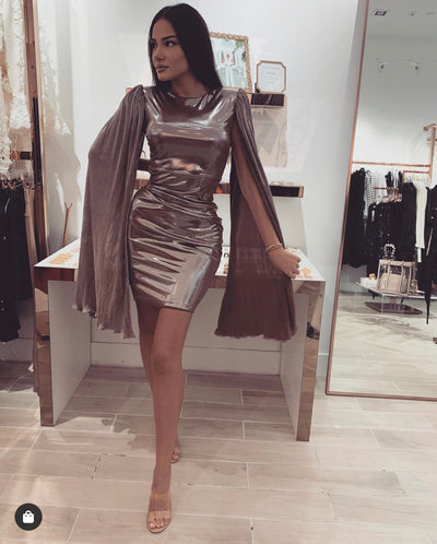 'RAINA' Metallic | Cape Sleeve Detailed | Padded Shoulder Detailed | Midi Evening Dress