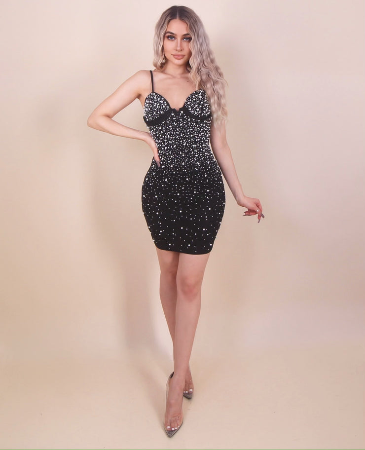 'AYLA'S BABY' Pearl Detailed Bustier Midi Dress