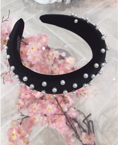 'LADY LIKE' Pearl Headband in BLACK