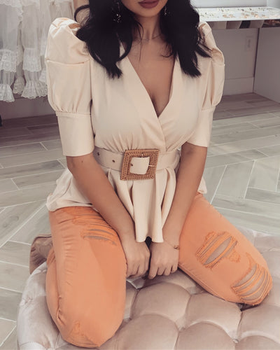 'BECCA' Belted Satin Top