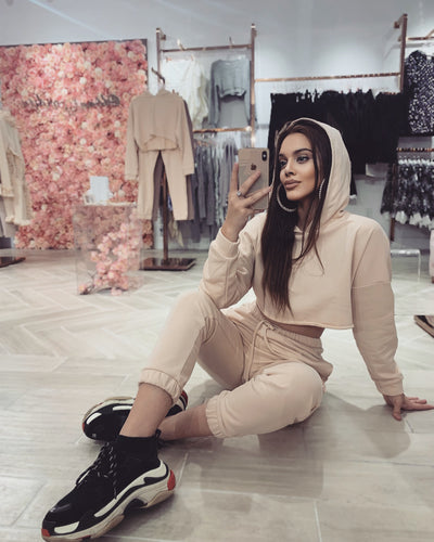 'WEEKEND' Casual Two Piece Jogger Set in BEIGE