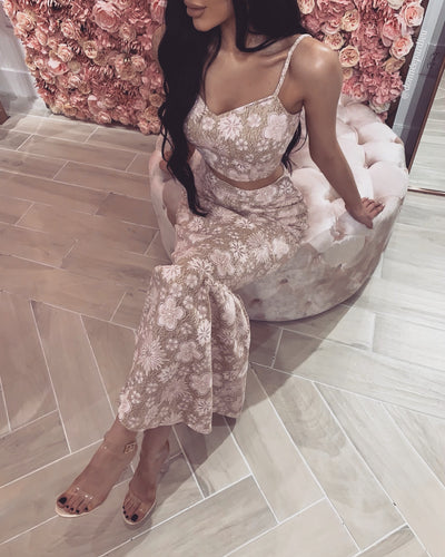 'YELENA' Floral Detailed | SkirtXTop Two-Piece Set
