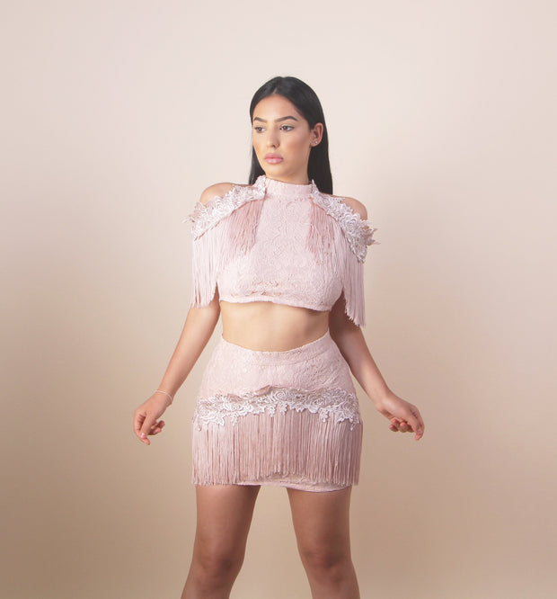 'FRANCHESCA' Tassel Top X Skirt | Two-Piece Set
