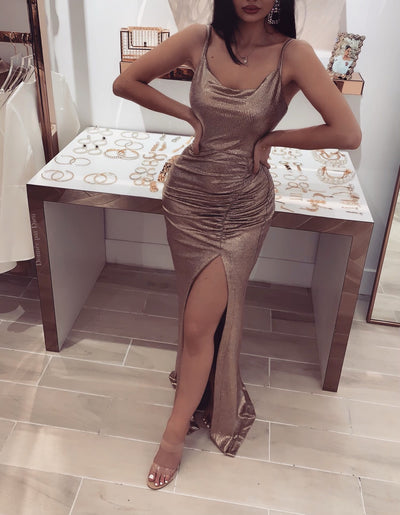 'ESTRELLA' Metallic Slit Dress