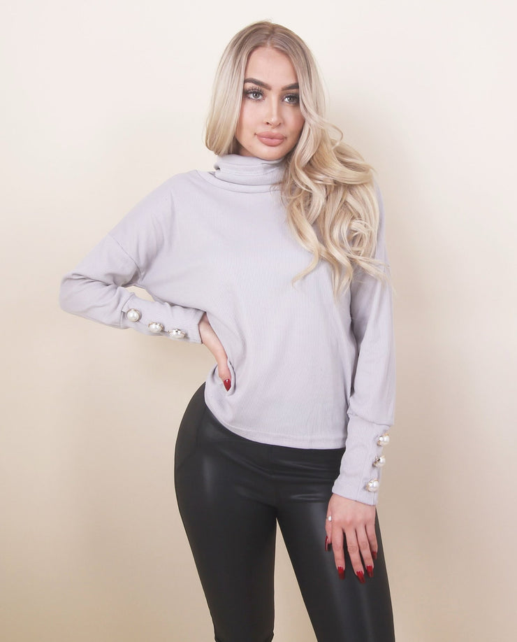 'LOLA' Turtle Neck Detailed | Button Sleeves Detailed | Long Sleeve Top/Blouse