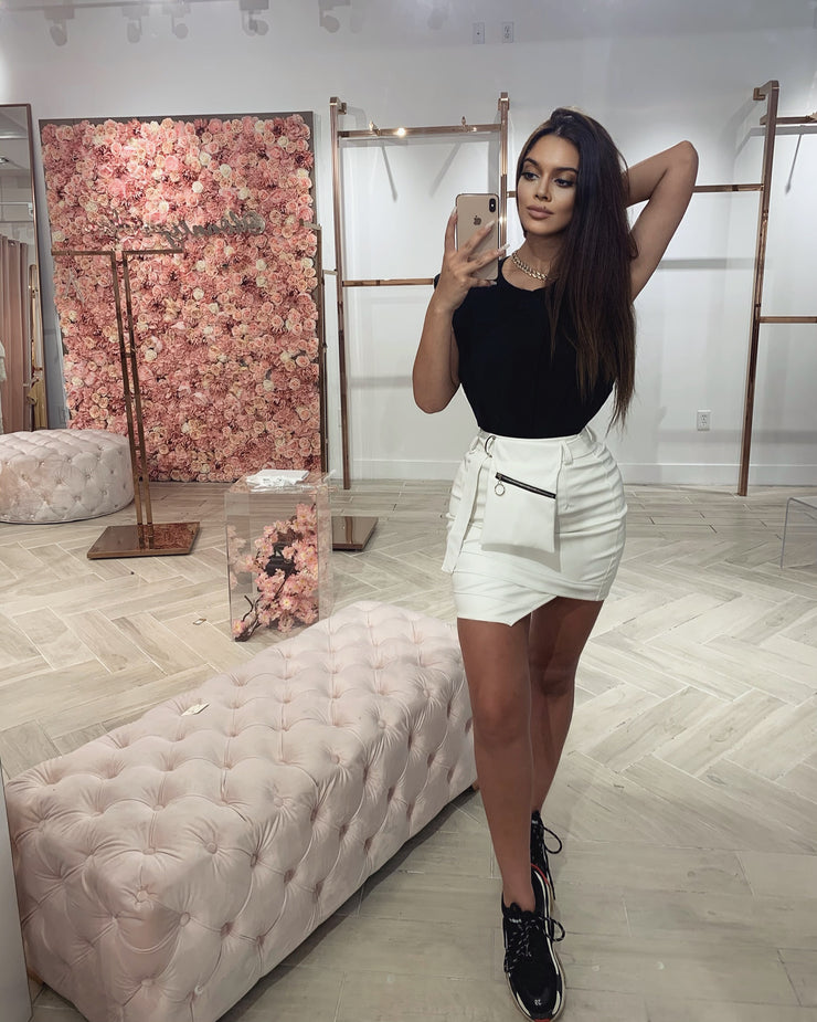 'CLEO' White Leather Skirt