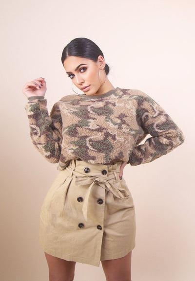 'JESSIE' Camo Cropped Sweater