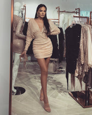 'SERENA' Nude Sequin | Long Sleeve | V Neck Mini Dress