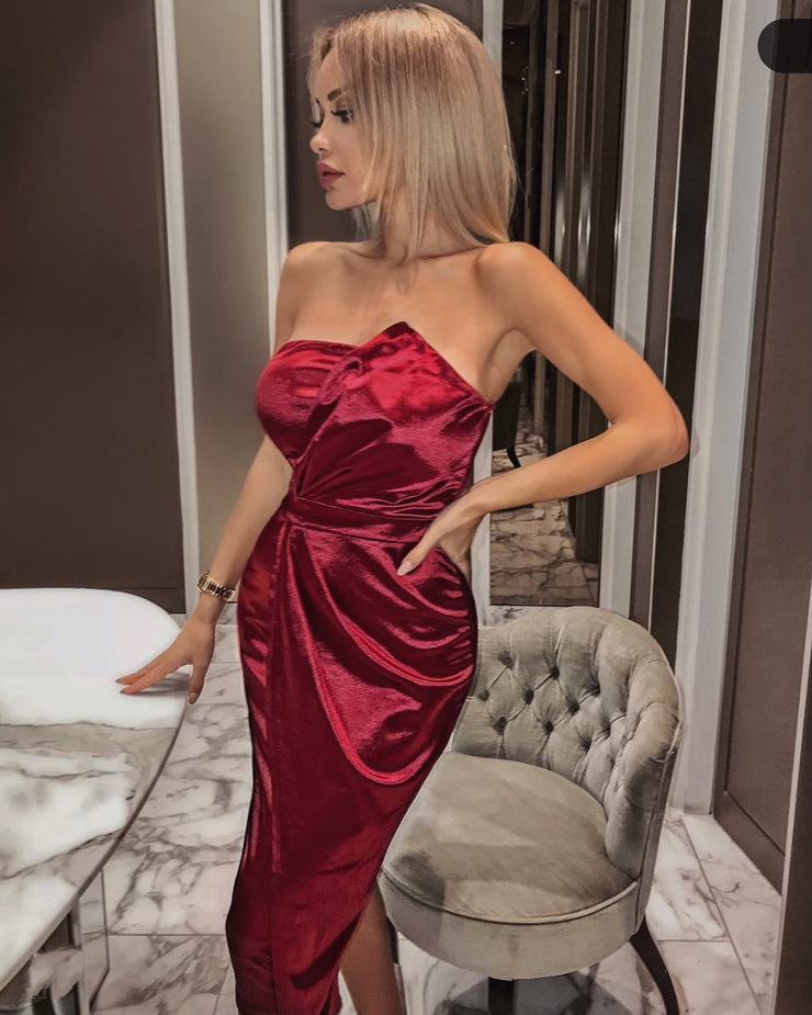 'PEDRA' Satin Tube Top Wrap Asymmetric Detailed Midi Dress