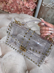 'VIA' Studded | Studded Clutch in CLEAR