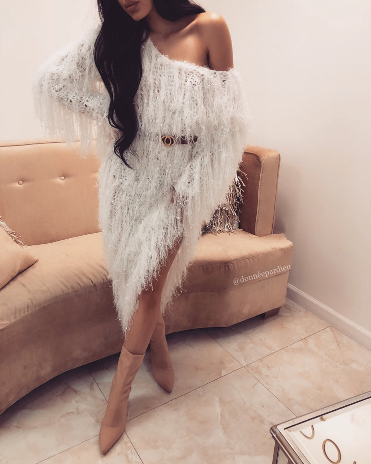 'YONCE' White Sweater Dress