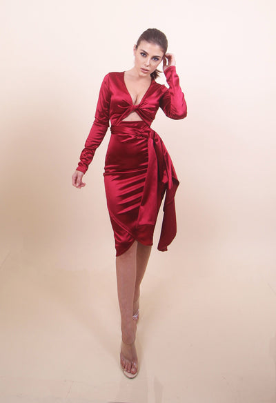 'KYLIE' Satin Burgundy Dress