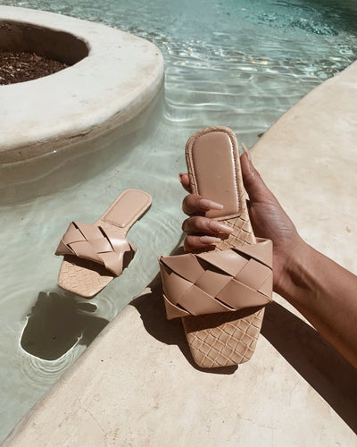 'PARIZ' Woven Sandals in NUDE