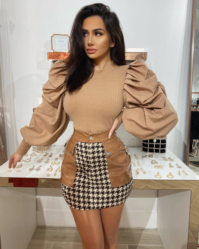 'LUCY' Pu Leather X Tweed Skirt