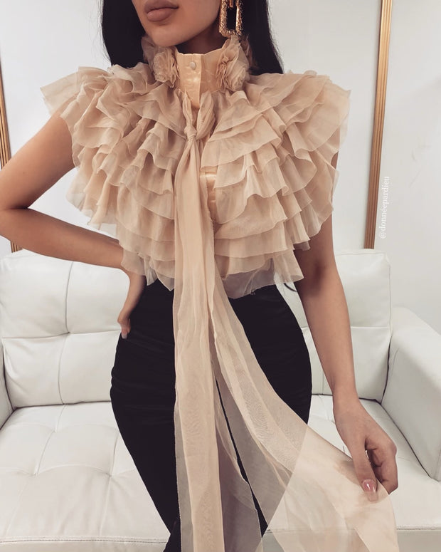 'SONATA' Ruffle sheer/mesh satin detail Top