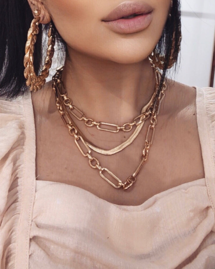 'GOLDEN' Layers X Chain Necklace