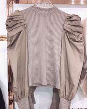 'JULIANNA' Ruffle Sleeved Top in BEIGE| Closed Neck Detailed | Long Sleeve | Blouse/Top