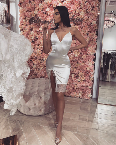 'BE MY VALENTINE' WHITE Satin dress with a lace detail