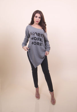 'MORE!' Grey Sweater