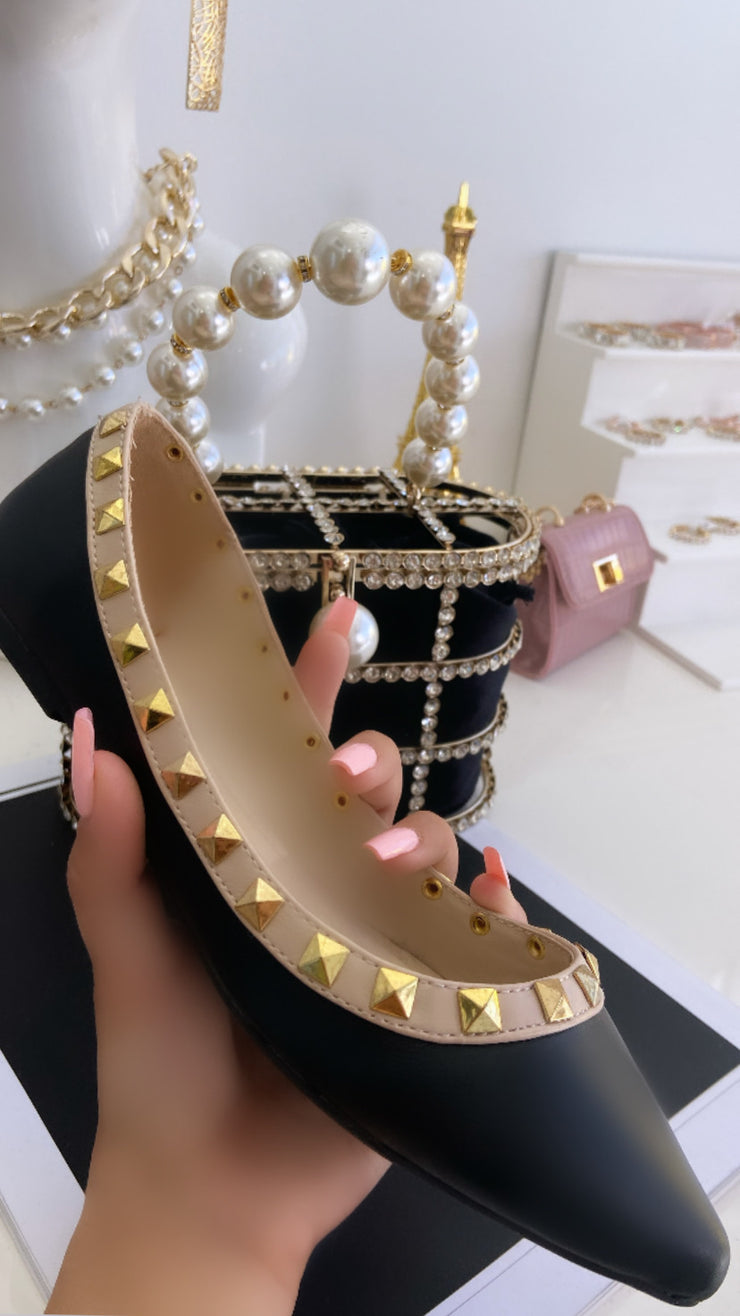 'MARIE' Black Studded Flats